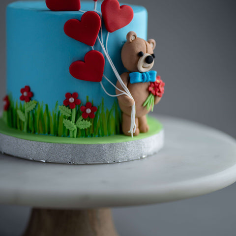 "Teddy Love Cake 4.5"" - Designer Cake - B'Sweetbites - - Eat Cake Today - Birthday Cake Delivery - KL/PJ/Malaysia"