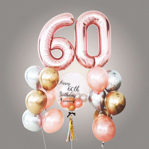 "Ultimate Chrome Bubble Balloon Bouquet With 40"" Number Foil - Add On - Party Perfect - - Eat Cake Today - Birthday Cake Delivery - KL/PJ/Malaysia"
