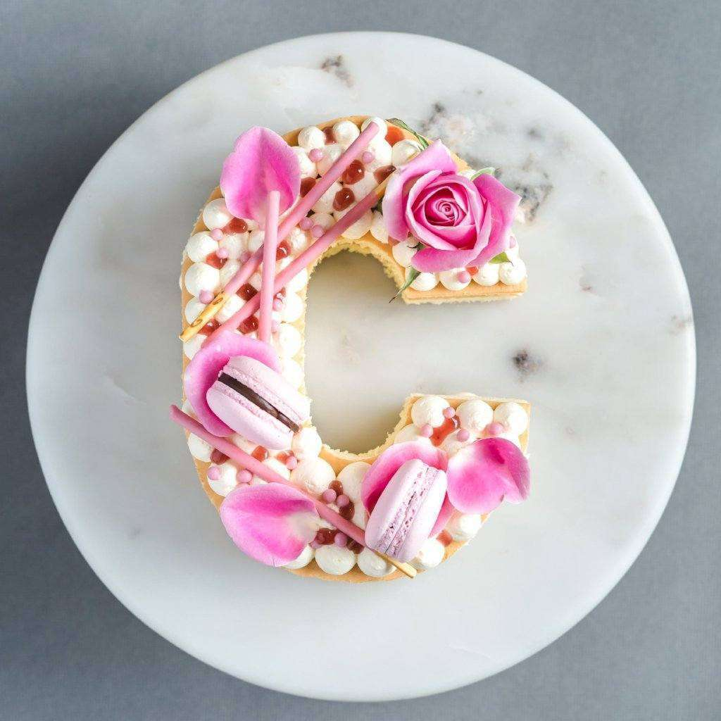 Peachy Vanilla Monogram Cake Eat Cake Today Birthday Cake Delivery Kl Funny Birthday Cards Online Aboleapandamsfinfo