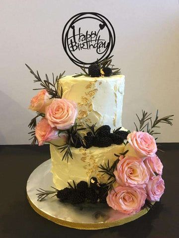 White Cake with Fresh Flower and Topper - Customized Cakes - B'Sweetbites - - Eat Cake Today - Birthday Cake Delivery - KL/PJ/Malaysia