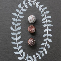Sugar Free Truffles on a painted background