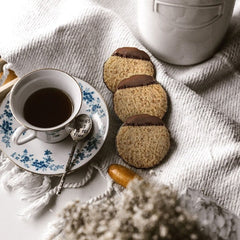 Chocolate Dipped Hazelnut Cookies with Coffee Cup