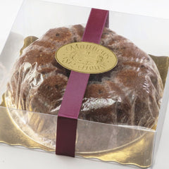 No Sugar Added Country Cake in a clear gift box with ribbon
