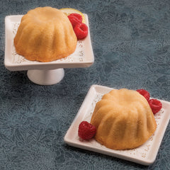 Lemon Rum Duo Cakes with Raspberries