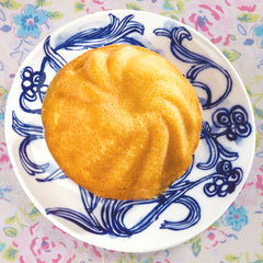Lemon Rum Duo Cake on Blue Plate