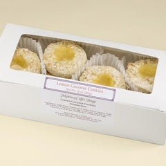 Lemon Coconut Cookies in a white gift box