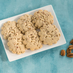 Sugar Free Pecan Shortbread cookies on a plate