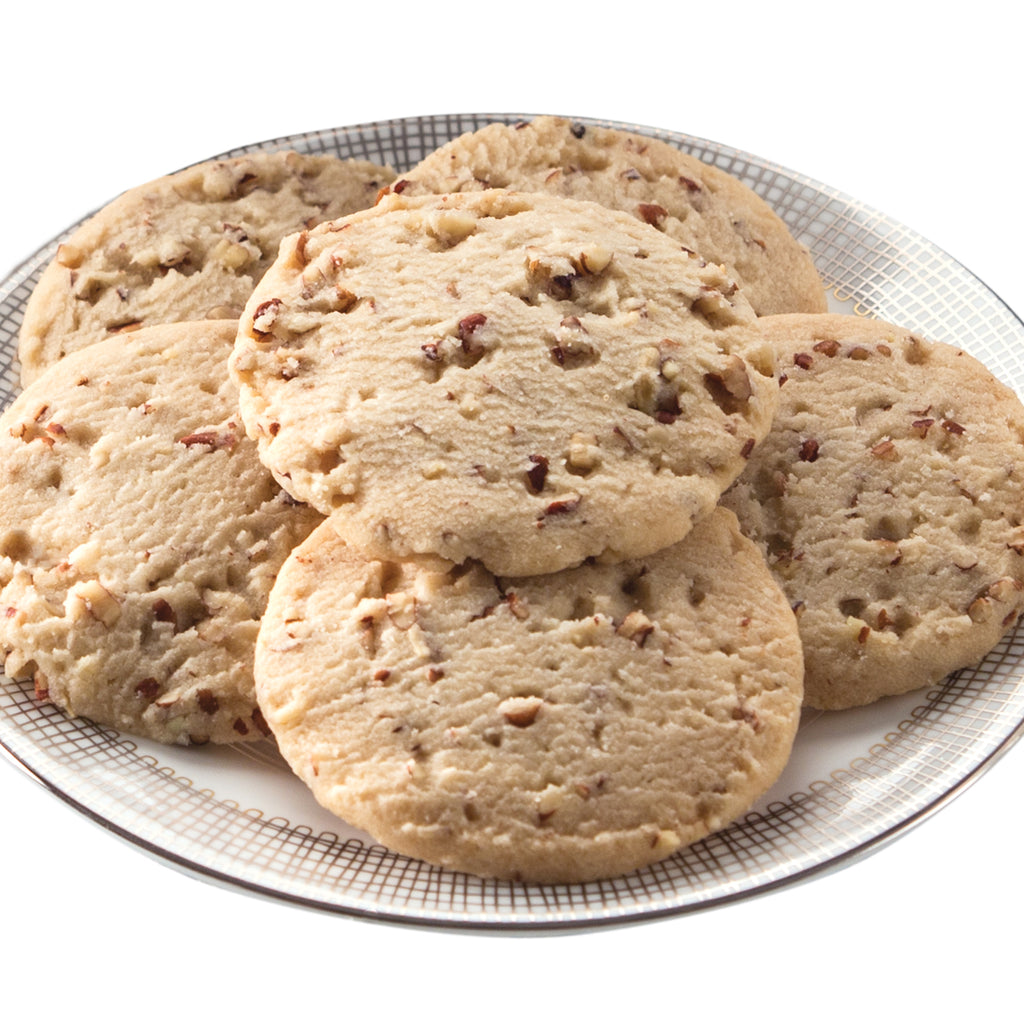 Pecan shortbread cookies on a plate