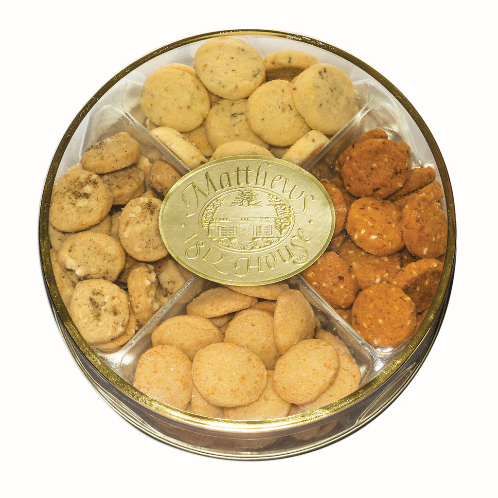 Assorted Savories in a gold rimmed container