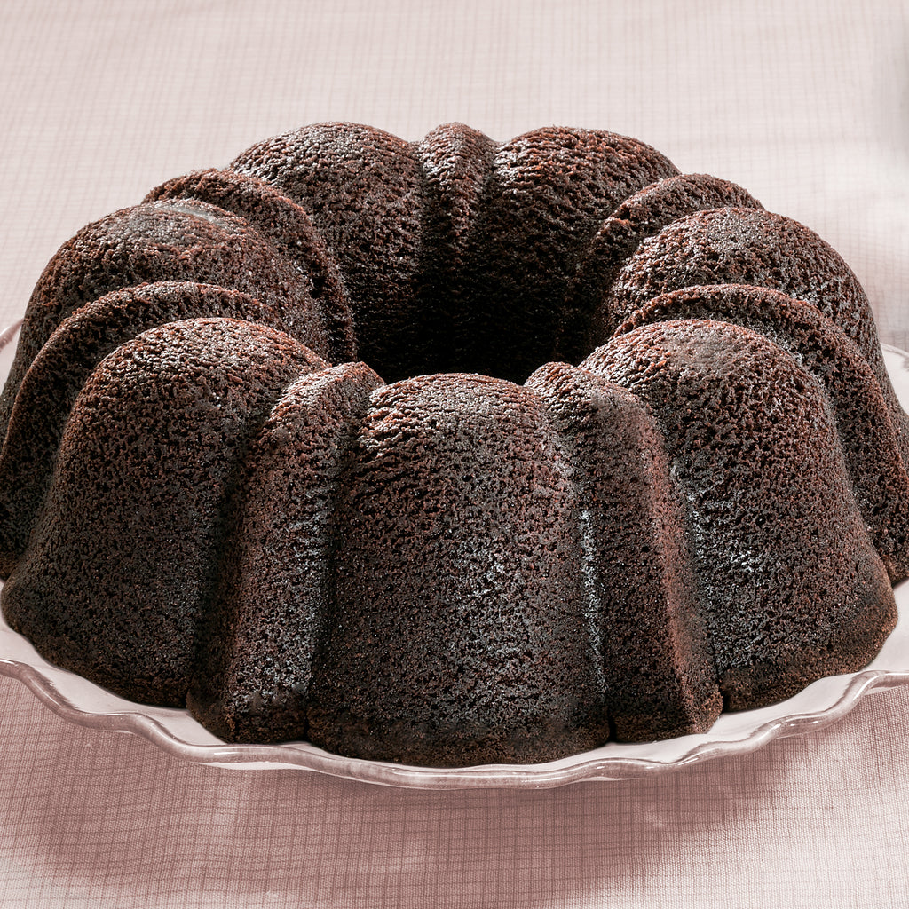Sugar Free Chocolate Rum Bundt Cake on a plate