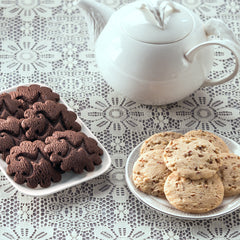 Chocolate and Pecan shortbread cookies with teapot