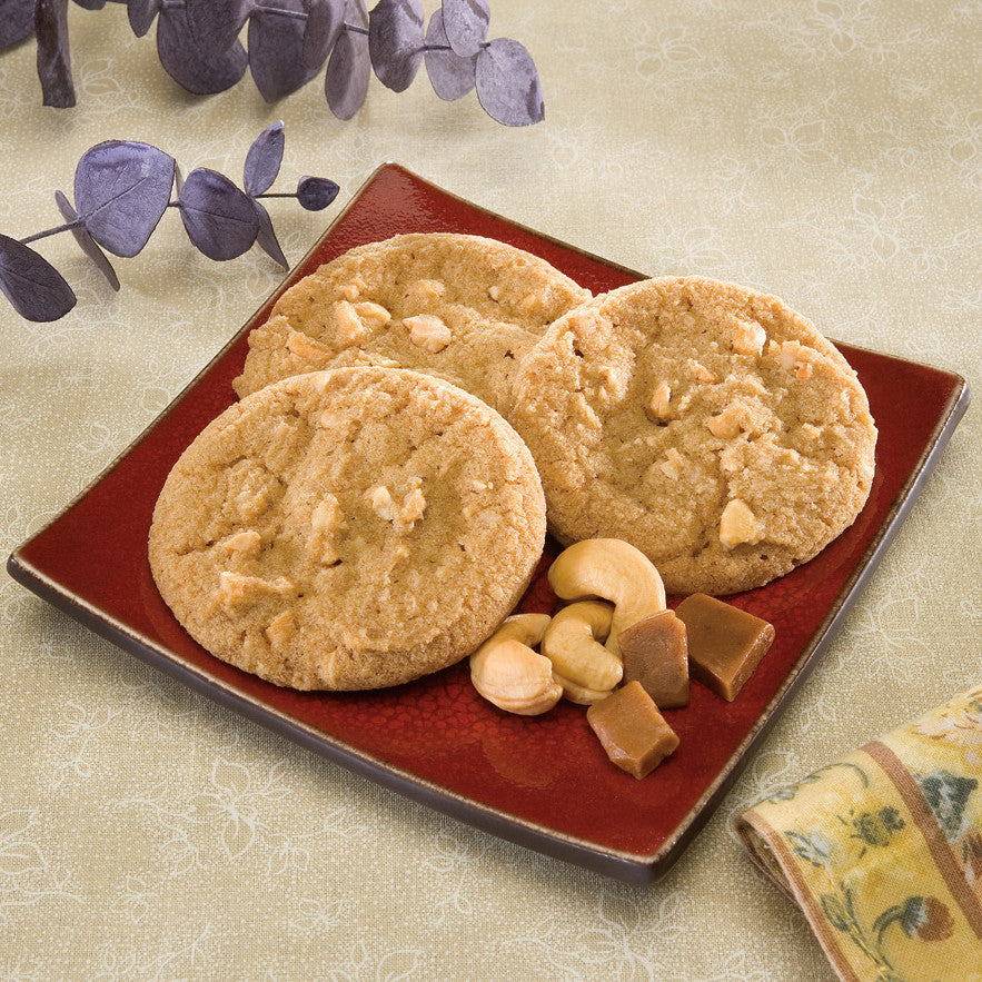 Toffee Cashew Cookies on a plate