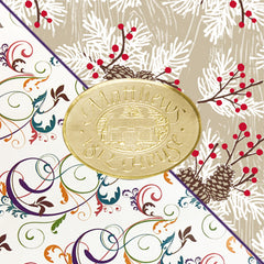Gift wrap with gold label
