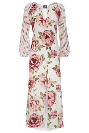 Imogen Silk Peony Dress - Womenswear - Madderson London