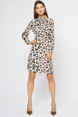 Lisa Leopard Silk Pussybow Dress - Womenswear - Madderson London