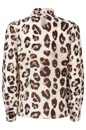 Lisa Leopard Silk Pussybow Top - Womenswear - Madderson London