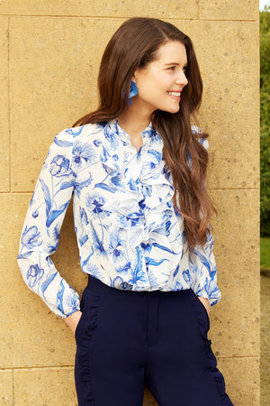 LEONIE TULIP SILK BLOUSE - Womenswear - Madderson London