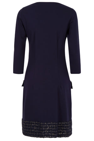 Naomi Navy & Gold Jersey Dress - Womenswear - Madderson London