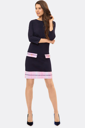 Naomi Navy & Pink Jersey Dress - Womenswear - Madderson London
