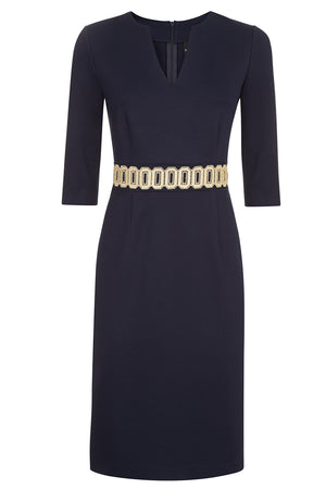 Ophelia Navy Jersey Dress - Womenswear - Madderson London