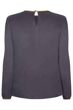 Titania Silk Top Grey - Womenswear Outlet - Madderson London