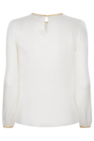Titania Silk Top Ivory - Womenswear Outlet - Madderson London