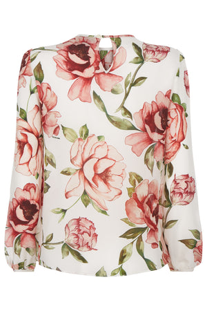 Titania Silk Peony Top - Womenswear - Madderson London