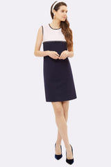 Verity Navy Jersey & Pink Tweed Shift - Womenswear - Madderson London