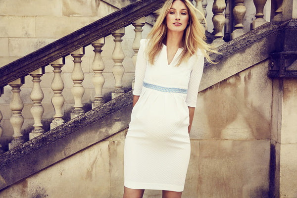 80ec0009cd0 Nadine Dress - White Blue - Maternity Outlet - Madderson London