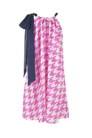 Charlotte Dress - Pink Houndstooth - Maternity Outlet - Madderson London