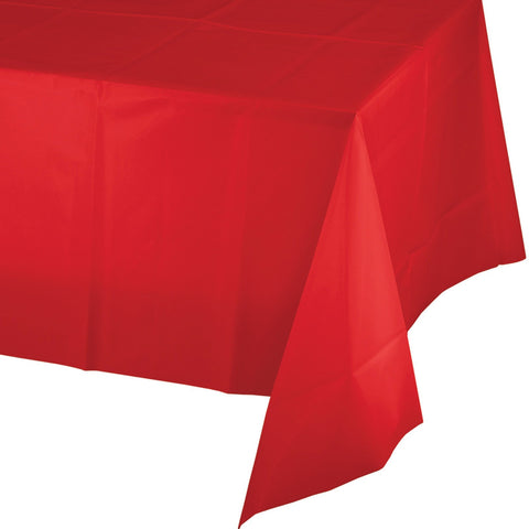 "Classic Red Plastic Tablecloth (54"" x 108"")"