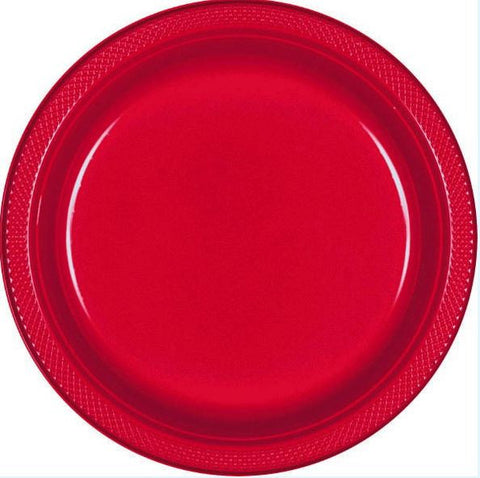 "Red 10"" Plastic Plate 20ct"