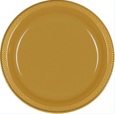 "Gold 10"" Plastic Plate 20ct"