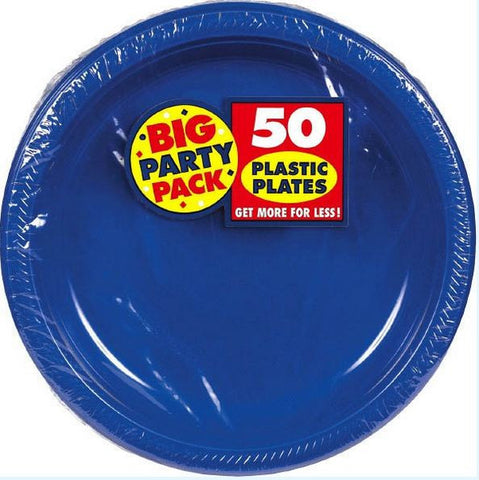 "Bright Royal Blue 10"" Plastic Plate 50ct"