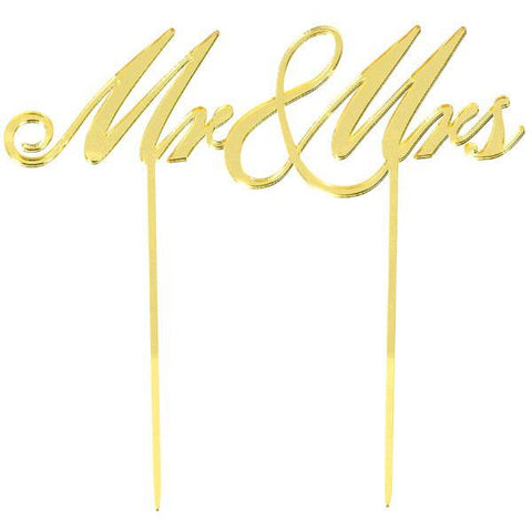 """Mr. & Mrs."" Reflective Gold Plastic Cake Topper"