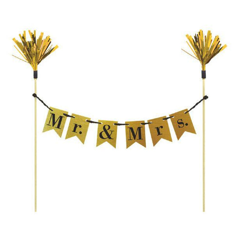 """Mr & Mrs."" Pennant Banner Cake Topper"