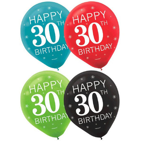 "30th Celebration 12"" Assorted Color Latex Balloons (15 Ct.)"