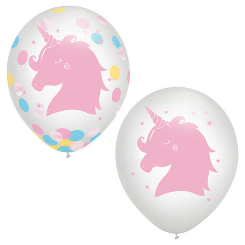 Magical Rainbow Unicorn Birthday Latex Balloon w/ confetti