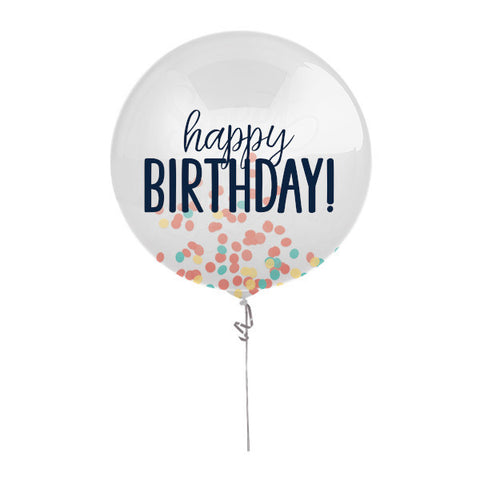 "Happy Birthday Confetti Balloon-24"" with Muli-Color Tissue inside inflated"