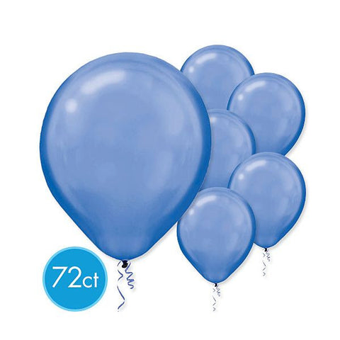 Bright Royal Blue Pearlized Latex Balloons - Packaged, 72ct