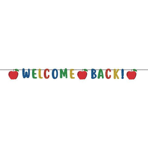 Welcome Back 12 Ft. Glittered Paper Letter Banner
