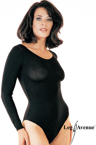 140D Opaque Long Sleeves Bodysuit One-Size Black