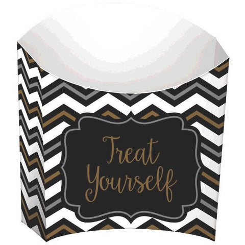 Small Black, Gold, Silver Chevron Paper Snack Sleeves (24 Ct.)