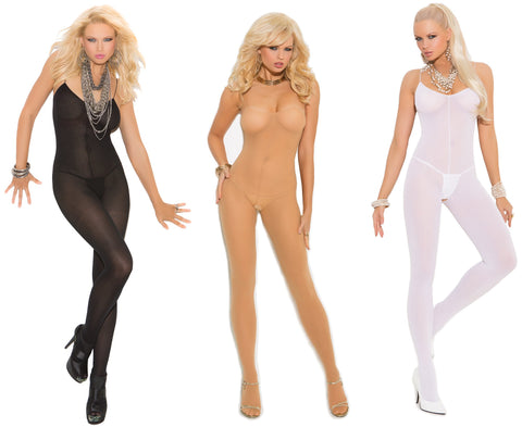 Elegant Moments Women's Opaque Body Stocking Lingerie with Open Crotch (Nude, Black or White)