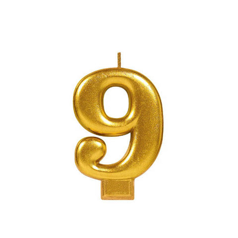 Numeral #9 Metallic Candle - Gold
