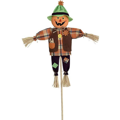 "Friendly Fabric Patchwork Jack O' Lantern Scarecrow Standing Yard Decoration (24"" Tall)"