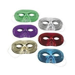 2 dozen assorted color metallic half masks