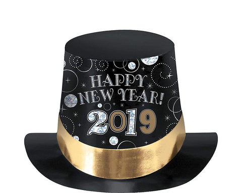 New Year's 2019 Top Hat - Black/ Silver