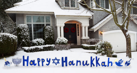 "Outdoor Lawn Decorations ""Happy Hanukkah "" Yard Sign With Decor Pieces"