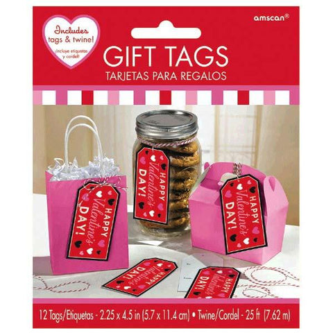 Valentine's Day Container Gift Tags with Twine (12 Ct.)